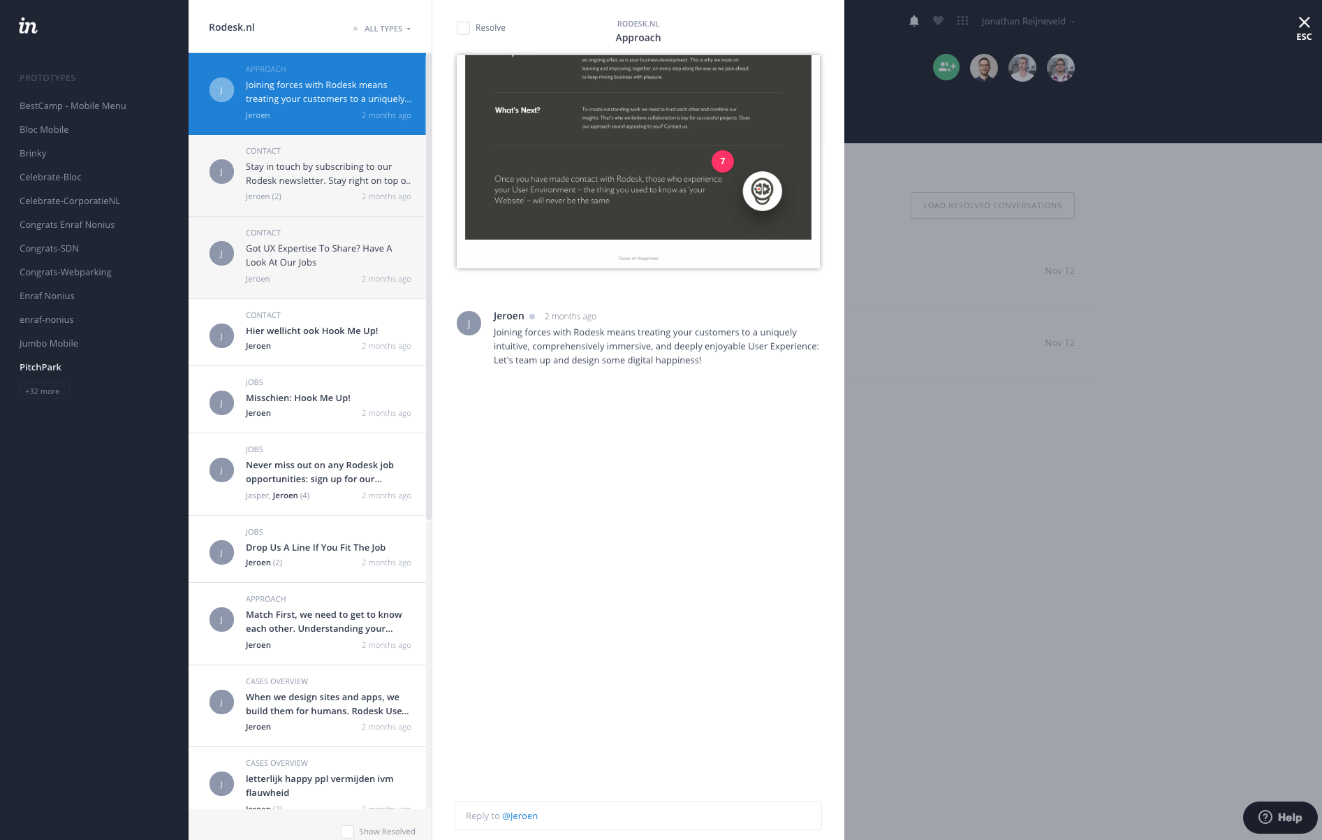 Viewing a comment in InVision
